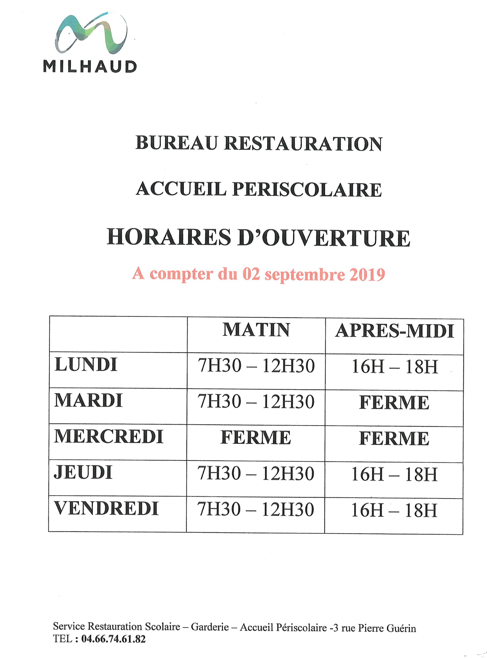 Horaires Scolaires