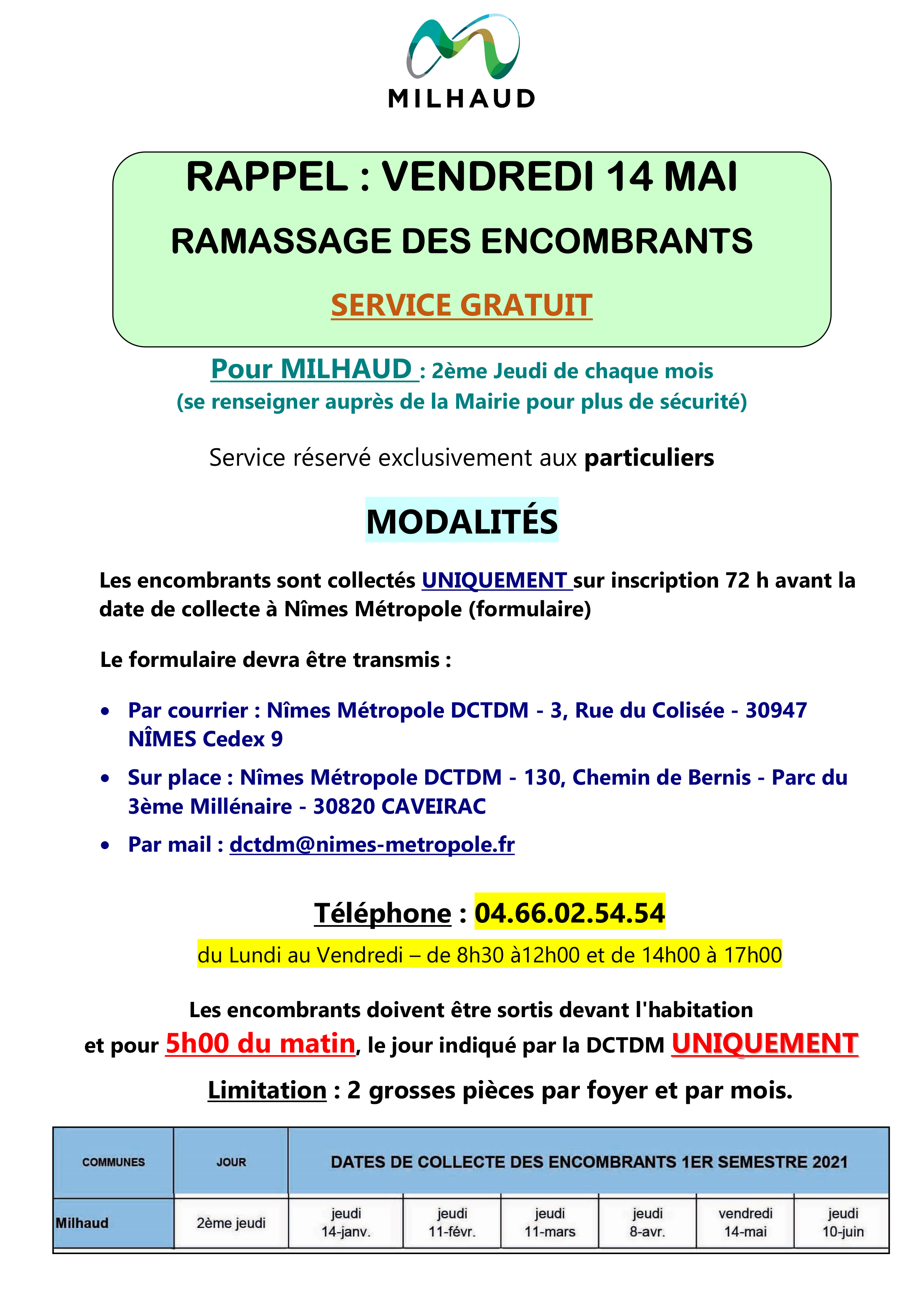 RAPPEL Ramassage encombrants Mai 2021